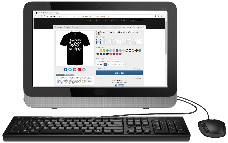 Desktop Computer with t-shirt designer application running to create clever graphic tees to sell