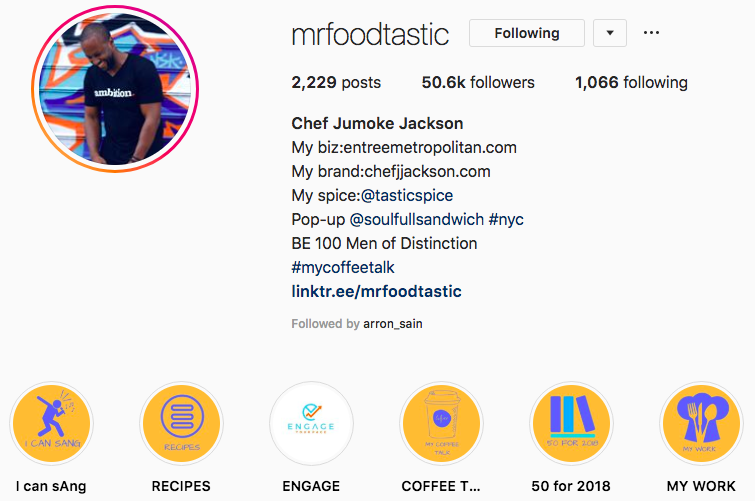 Good example of using Highlights in Instagram - Mr. Foodtastic